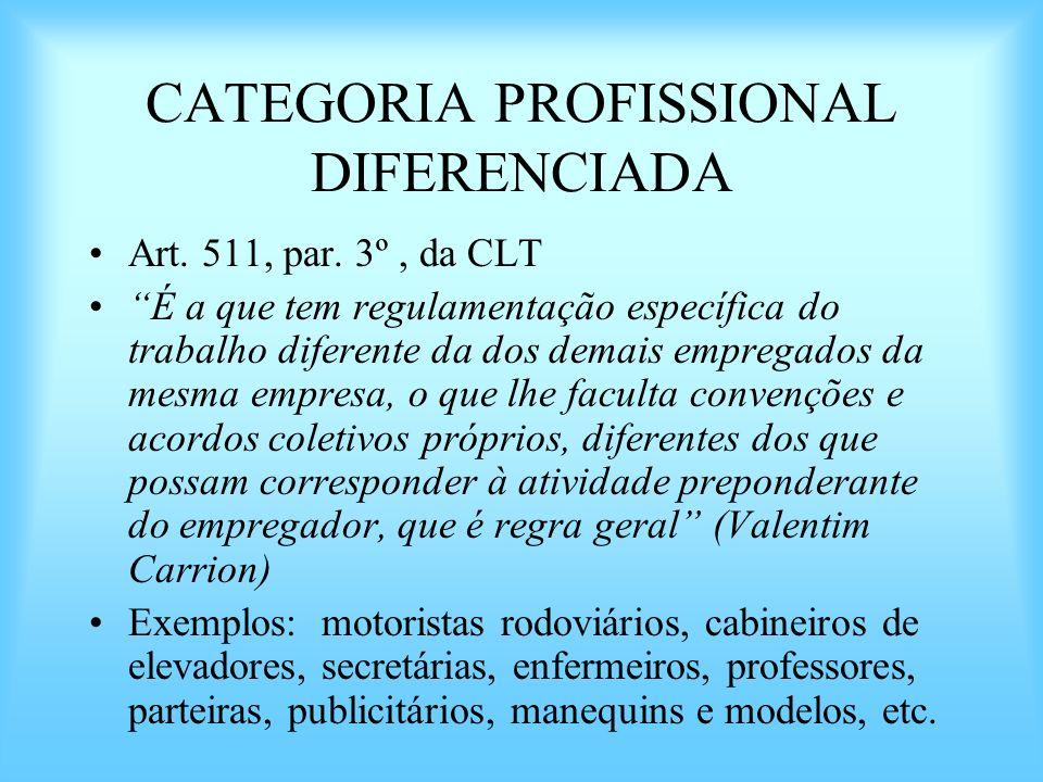 CATEGORIA PROFISSIONAL DIFERENCIADA Art. 511, par. 3º, da CLT É a que tem regulamentação específica do trabalho diferente da dos demais empregados da
