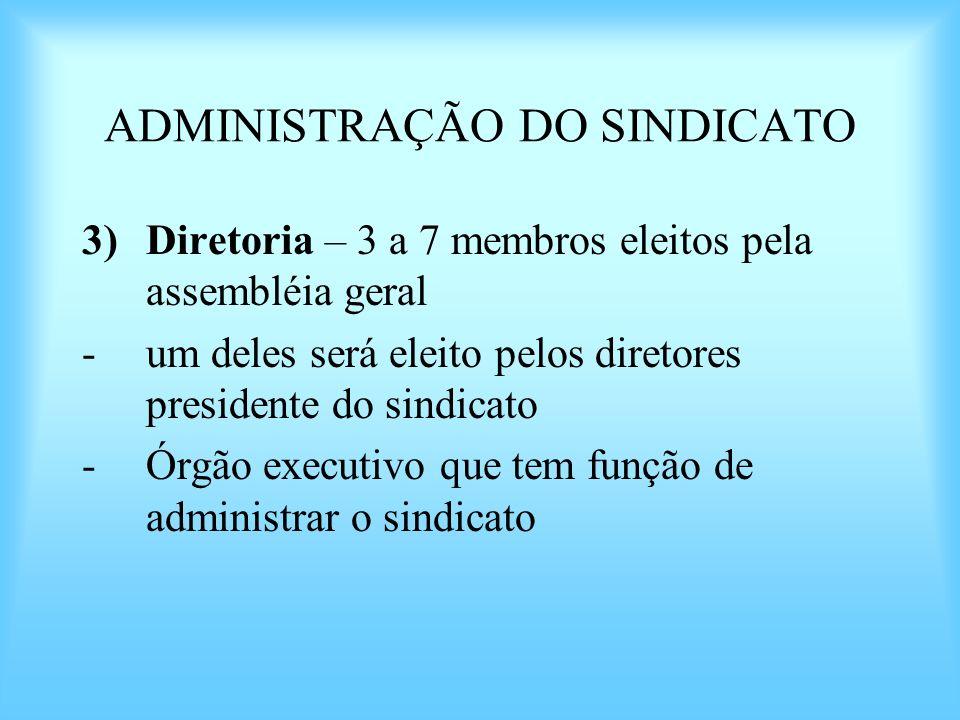 ADMINISTRAÇÃO DO SINDICATO 3)Diretoria – 3 a 7 membros eleitos pela assembléia geral -um deles será eleito pelos diretores presidente do sindicato -Ór