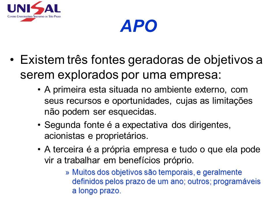 APO Existem três fontes geradoras de objetivos a serem explorados por uma empresa: A primeira esta situada no ambiente externo, com seus recursos e op