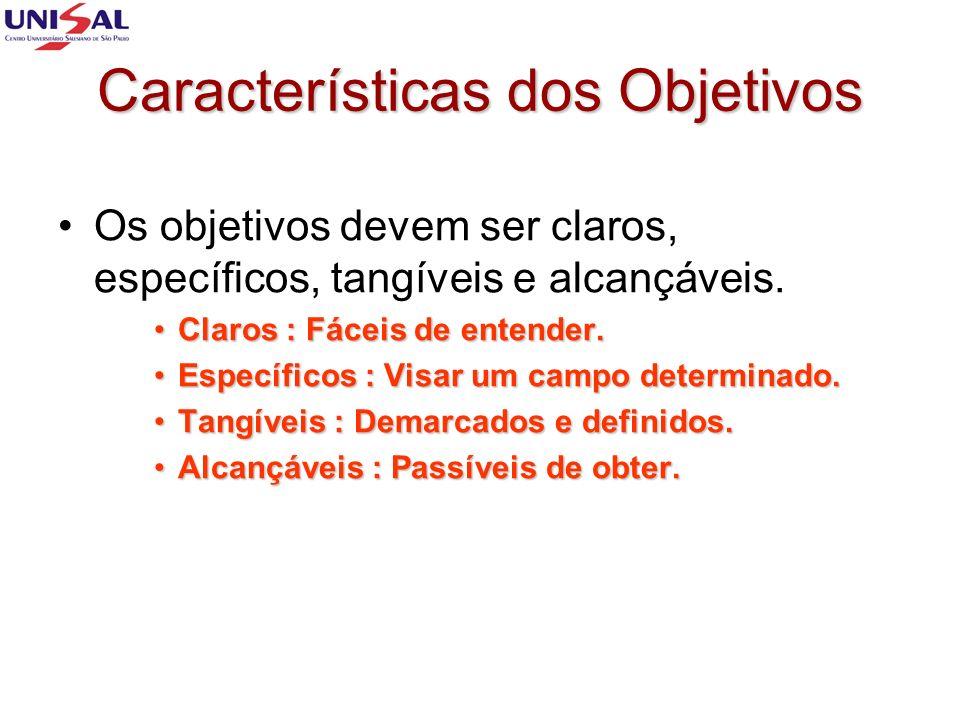 Características dos Objetivos Os objetivos devem ser claros, específicos, tangíveis e alcançáveis. Claros : Fáceis de entender.Claros : Fáceis de ente