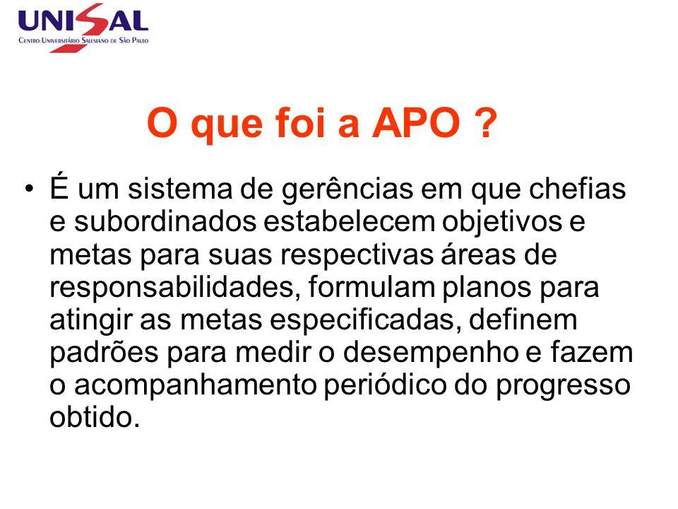 O que foi a APO ? É um sistema de gerências em que chefias e subordinados estabelecem objetivos e metas para suas respectivas áreas de responsabilidad