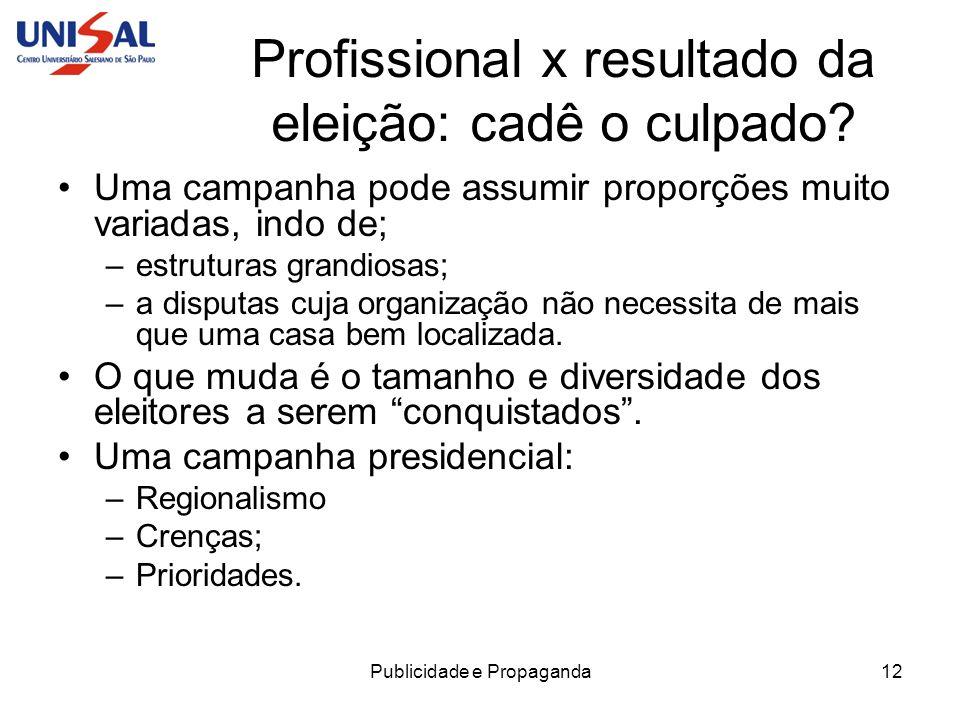 Publicidade e Propaganda13 Profissional x resultado da eleição: cadê o culpado.