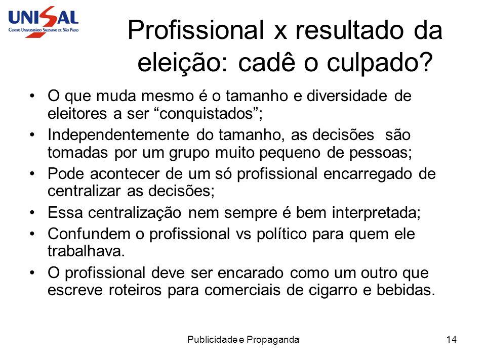 Publicidade e Propaganda15 Profissional x resultado da eleição: cadê o culpado.