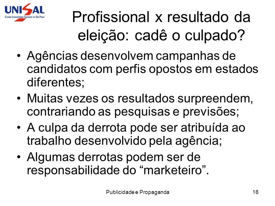Publicidade e Propaganda16 Profissional x resultado da eleição: cadê o culpado? Agências desenvolvem campanhas de candidatos com perfis opostos em est