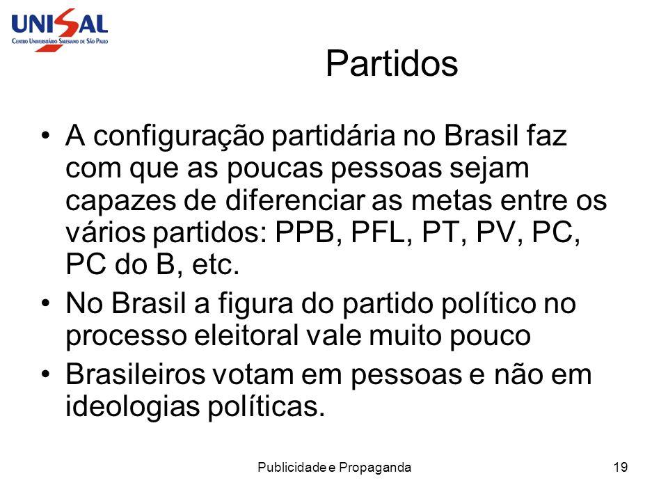 Publicidade e Propaganda19 Partidos A configuração partidária no Brasil faz com que as poucas pessoas sejam capazes de diferenciar as metas entre os v