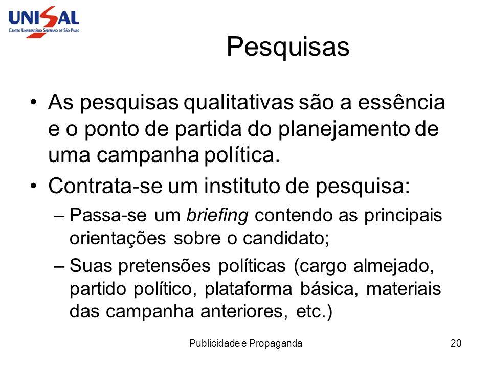 Publicidade e Propaganda20 Pesquisas As pesquisas qualitativas são a essência e o ponto de partida do planejamento de uma campanha política. Contrata-