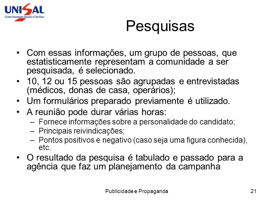 Publicidade e Propaganda21 Pesquisas Com essas informações, um grupo de pessoas, que estatisticamente representam a comunidade a ser pesquisada, é sel