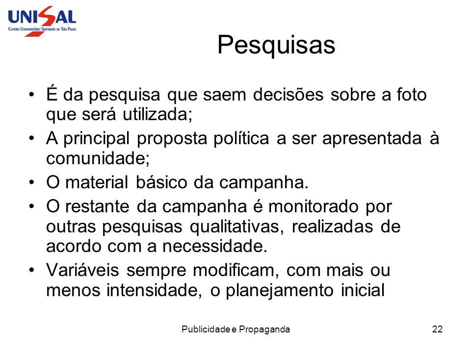 Publicidade e Propaganda22 Pesquisas É da pesquisa que saem decisões sobre a foto que será utilizada; A principal proposta política a ser apresentada