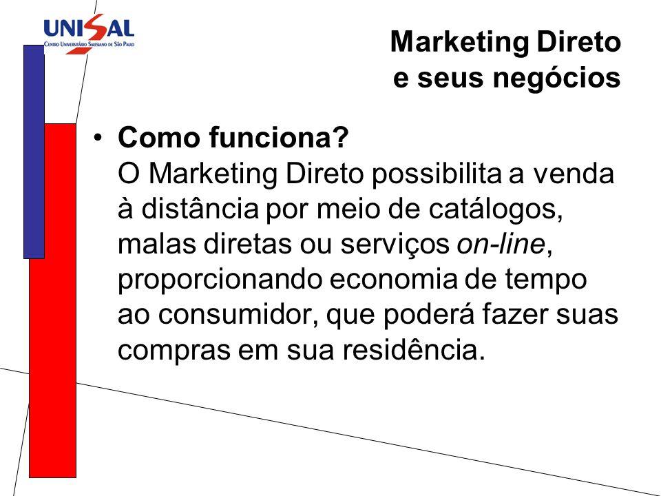 Marketing Direto e seus negócios Como funciona? O Marketing Direto possibilita a venda à distância por meio de catálogos, malas diretas ou serviços on