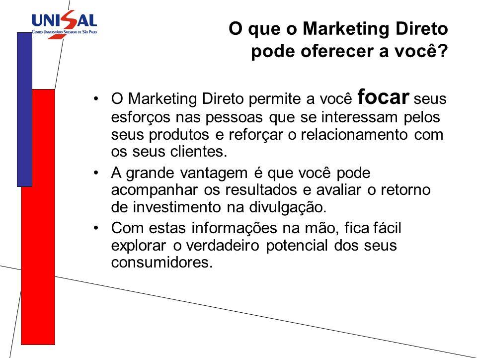 O que o Marketing Direto pode oferecer a você? O Marketing Direto permite a você focar seus esforços nas pessoas que se interessam pelos seus produtos
