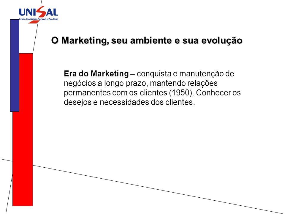 O Marketing, seu ambiente e sua evolução Era do Marketing – conquista e manutenção de negócios a longo prazo, mantendo relações permanentes com os cli