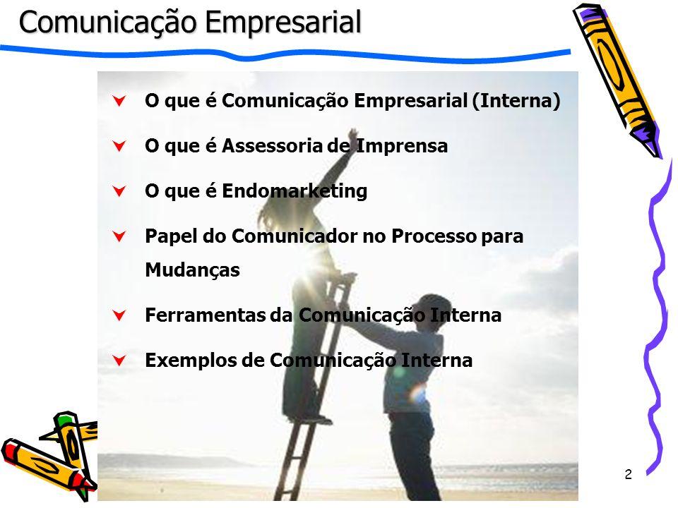 3 O que é Comunicação Empresarial (Interna) É um conjunto de atividades que visa comunicar com clareza e eficácia as informações internas para seus públicos prioritários.