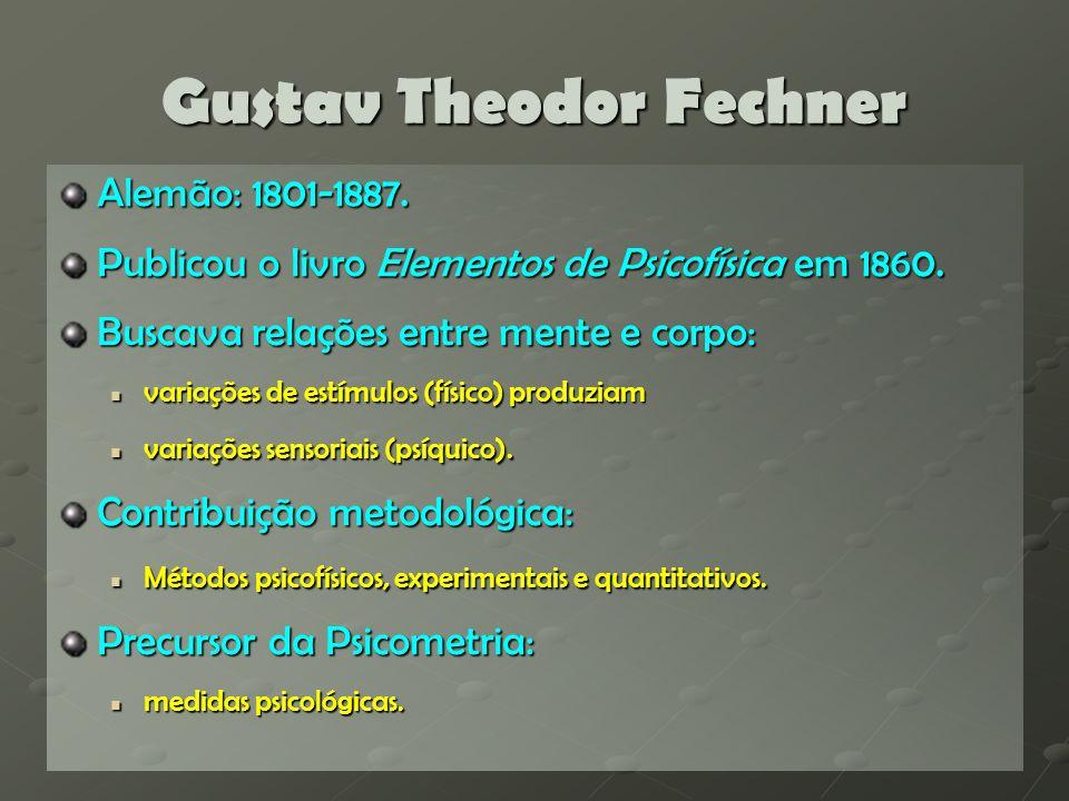 Willhelm Wundt Alemão: 1832-1920.Publicou o livro Elementos de Psicologia Fisiológica em 1864.