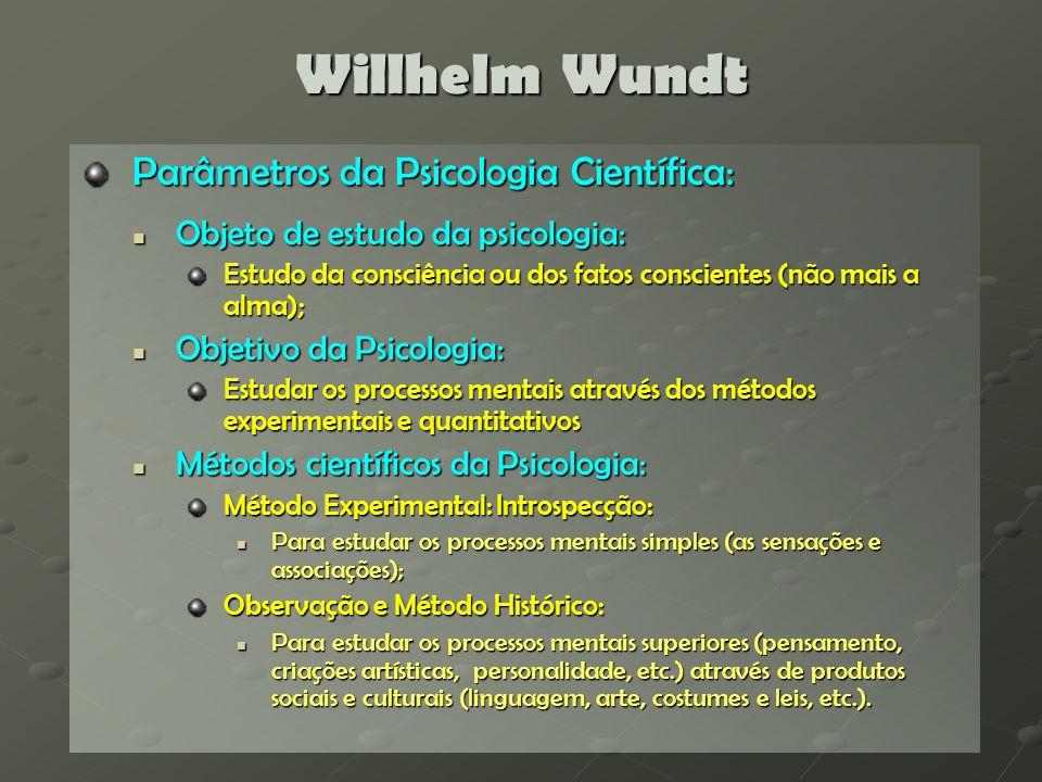 Willhelm Wundt Estudo das faculdades (ou processos) mentais: Processos mentais simples: Processos mentais simples: Sensações e percepções: visuais, táteis, olfativas e cinestésicas; Classificações e medidas (da intensidade, duração e extensão).