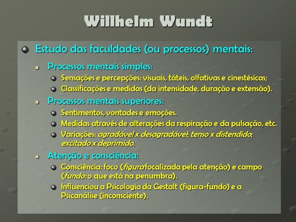 Willhelm Wundt Estudo das faculdades (ou processos) mentais: Processos mentais simples: Processos mentais simples: Sensações e percepções: visuais, tá