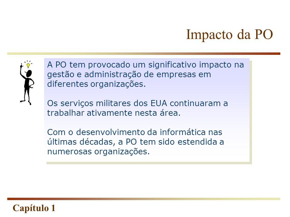 Capítulo 1 A PO tem provocado um significativo impacto na gestão e administração de empresas em diferentes organizações. Os serviços militares dos EUA