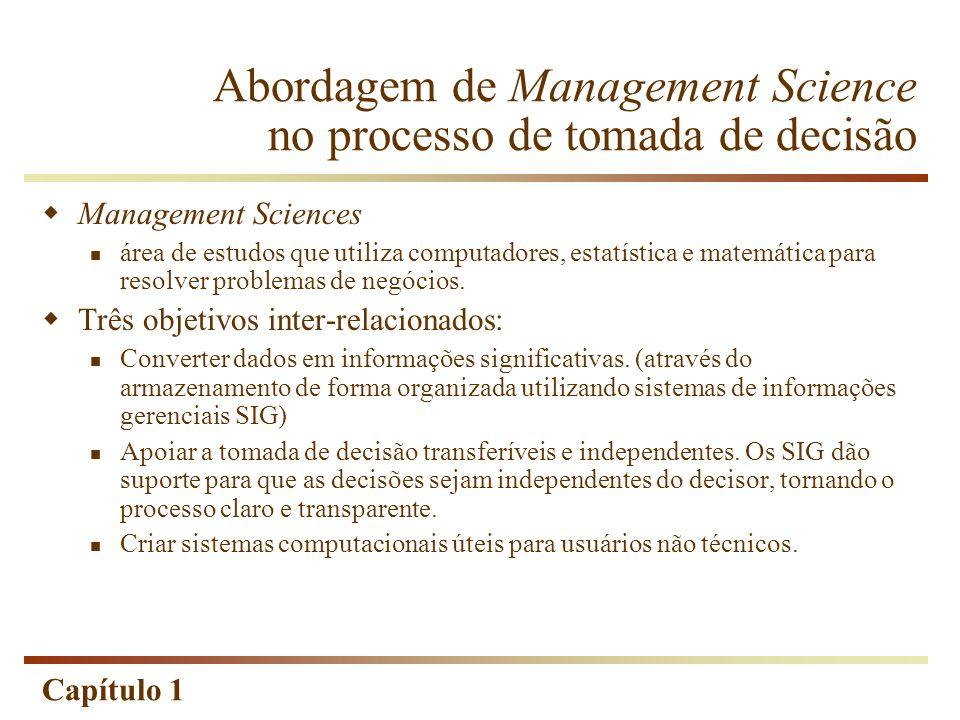 Capítulo 1 Abordagem de Management Science no processo de tomada de decisão Management Sciences área de estudos que utiliza computadores, estatística