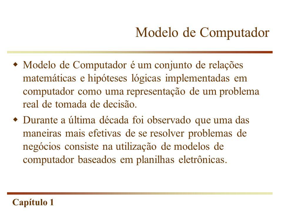 Capítulo 1 Modelo de Computador Modelo de Computador é um conjunto de relações matemáticas e hipóteses lógicas implementadas em computador como uma re