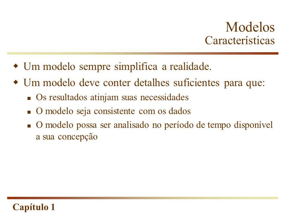 Capítulo 1 Modelos Características Um modelo sempre simplifica a realidade. Um modelo deve conter detalhes suficientes para que: Os resultados atinjam
