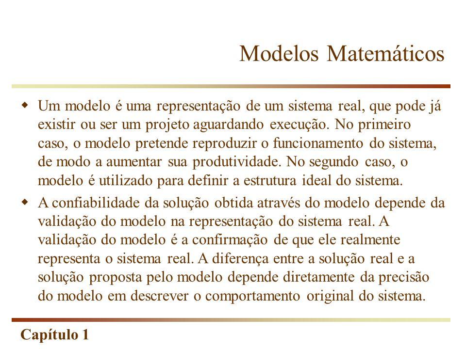 Capítulo 1 Modelos Matemáticos Um modelo é uma representação de um sistema real, que pode já existir ou ser um projeto aguardando execução. No primeir