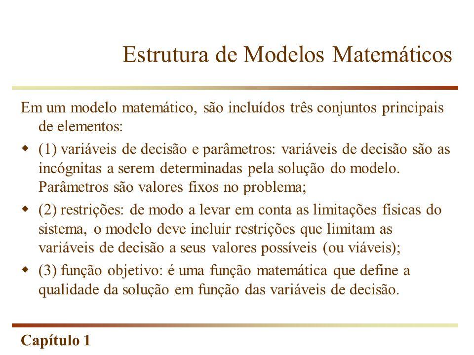 Capítulo 1 Em um modelo matemático, são incluídos três conjuntos principais de elementos: (1) variáveis de decisão e parâmetros: variáveis de decisão