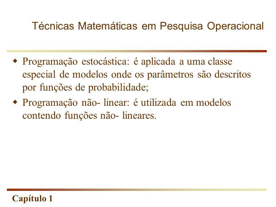 Capítulo 1 Programação estocástica: é aplicada a uma classe especial de modelos onde os parâmetros são descritos por funções de probabilidade; Program