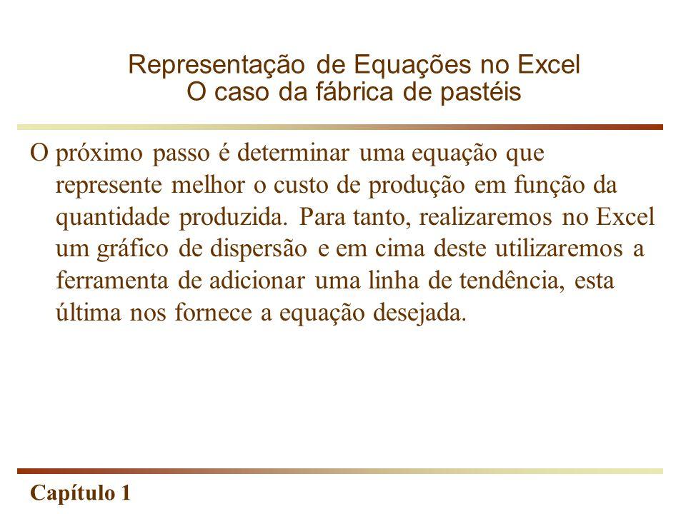 Capítulo 1 O próximo passo é determinar uma equação que represente melhor o custo de produção em função da quantidade produzida. Para tanto, realizare