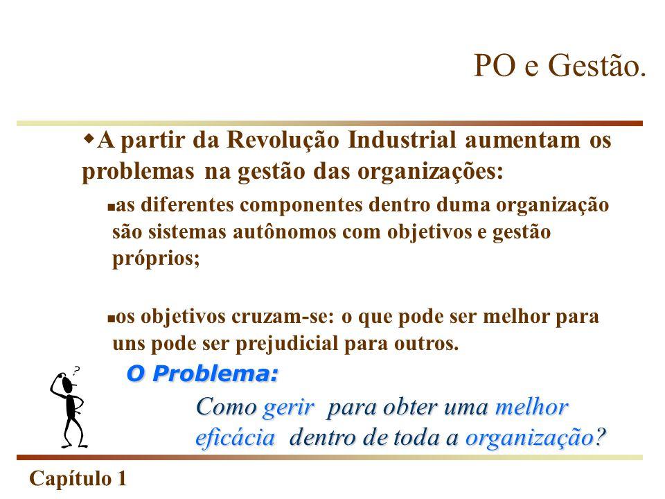 Capítulo 1 PO e Gestão. A partir da Revolução Industrial aumentam os problemas na gestão das organizações: as diferentes componentes dentro duma organ