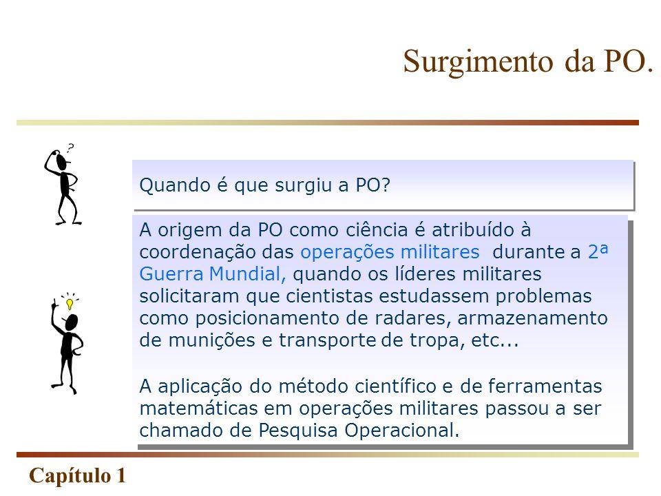 Capítulo 1 Um estudo de pesquisa operacional geralmente envolve as seguintes fases: (1) definição do problema; (2) construção do modelo; (3) solução do modelo; (4) validação do modelo; (5) implementação da solução.