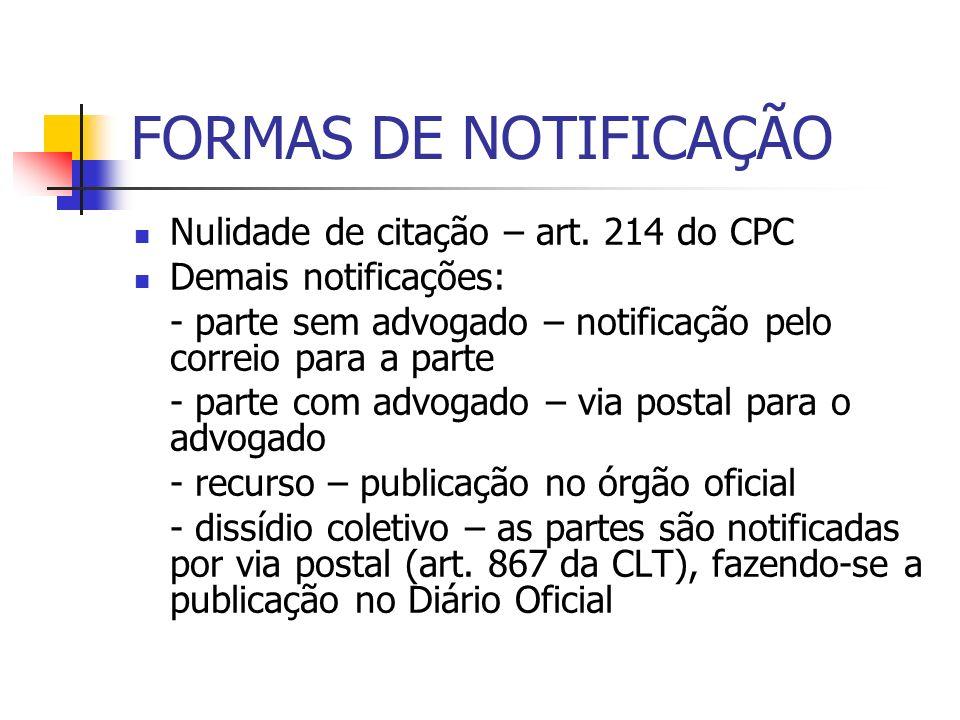 FORMAS DE NOTIFICAÇÃO Nulidade de citação – art. 214 do CPC Demais notificações: - parte sem advogado – notificação pelo correio para a parte - parte