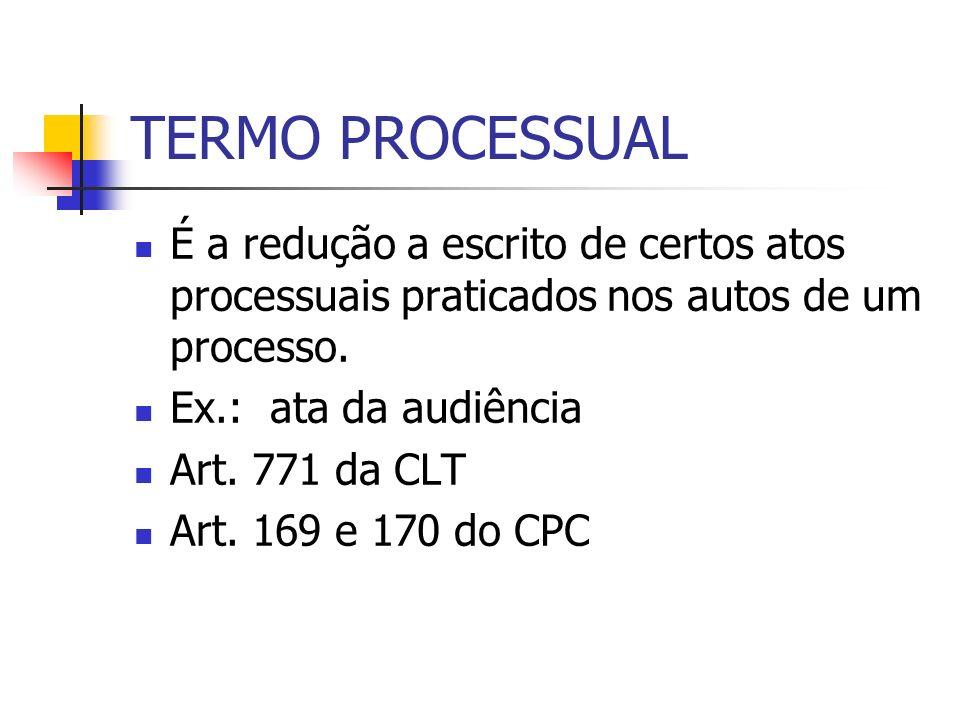 TERMO PROCESSUAL É a redução a escrito de certos atos processuais praticados nos autos de um processo. Ex.: ata da audiência Art. 771 da CLT Art. 169