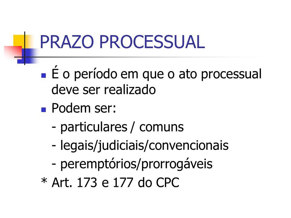 PRAZO PROCESSUAL É o período em que o ato processual deve ser realizado Podem ser: - particulares / comuns - legais/judiciais/convencionais - peremptó