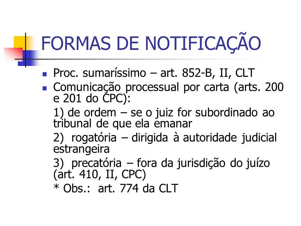 FORMAS DE NOTIFICAÇÃO Proc. sumaríssimo – art. 852-B, II, CLT Comunicação processual por carta (arts. 200 e 201 do CPC): 1) de ordem – se o juiz for s