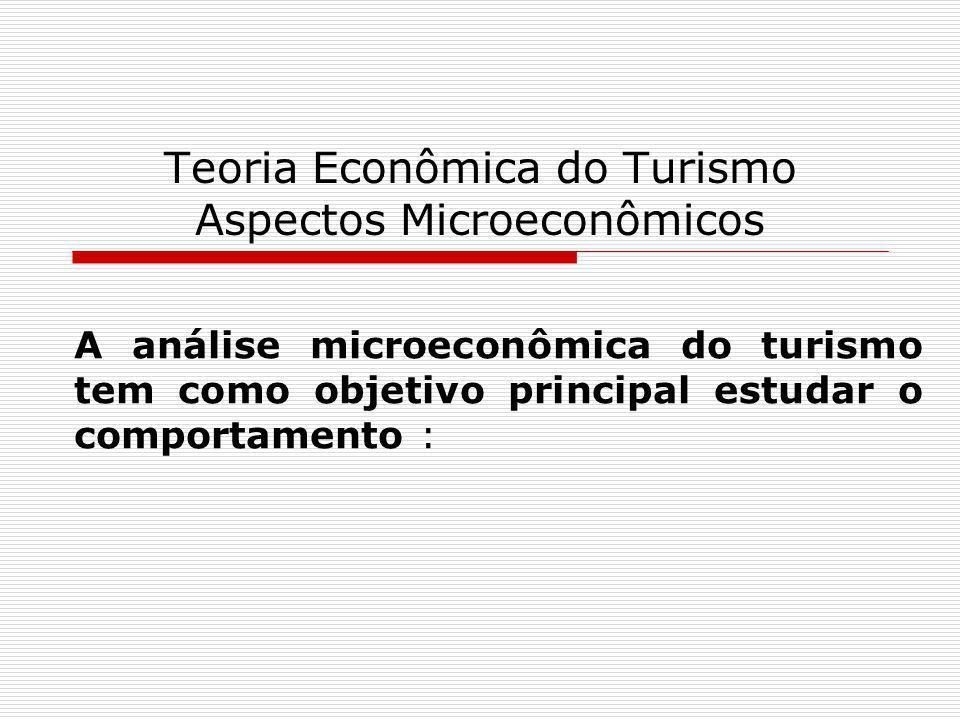 Teoria Econômica do Turismo Aspectos Microeconômicos dos consumidores turistas, que sujeitos às suas restrições orçamentárias, procuram maximizar as satisfações ou utilidades, derivadas do consumo dos produtos turísticos; das empresas turísticas, que sujeitas às limitações de seus processos produtivos, procuram elevar ao máximo os seus lucros; dos mercados turísticos, onde se encontram os consumidores turistas e as empresas produtoras dos bens e serviços do turismo.