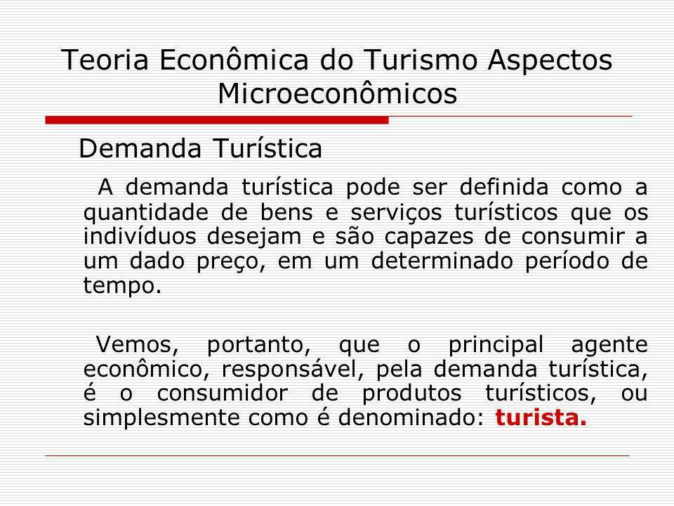 Teoria Econômica do Turismo Aspectos Microeconômicos Consumidor de produtos turísticos A teoria da demanda turística tem por finalidade explicar o comportamento do consumidor, tendo em vista suas decisões de compra de bens e serviços que estão à sua disposição no mercado turístico.
