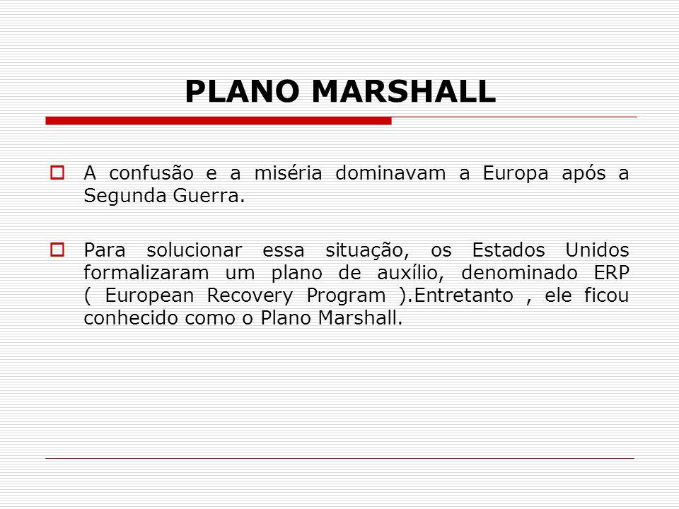 PLANO MARSHALL A confusão e a miséria dominavam a Europa após a Segunda Guerra. Para solucionar essa situação, os Estados Unidos formalizaram um plano