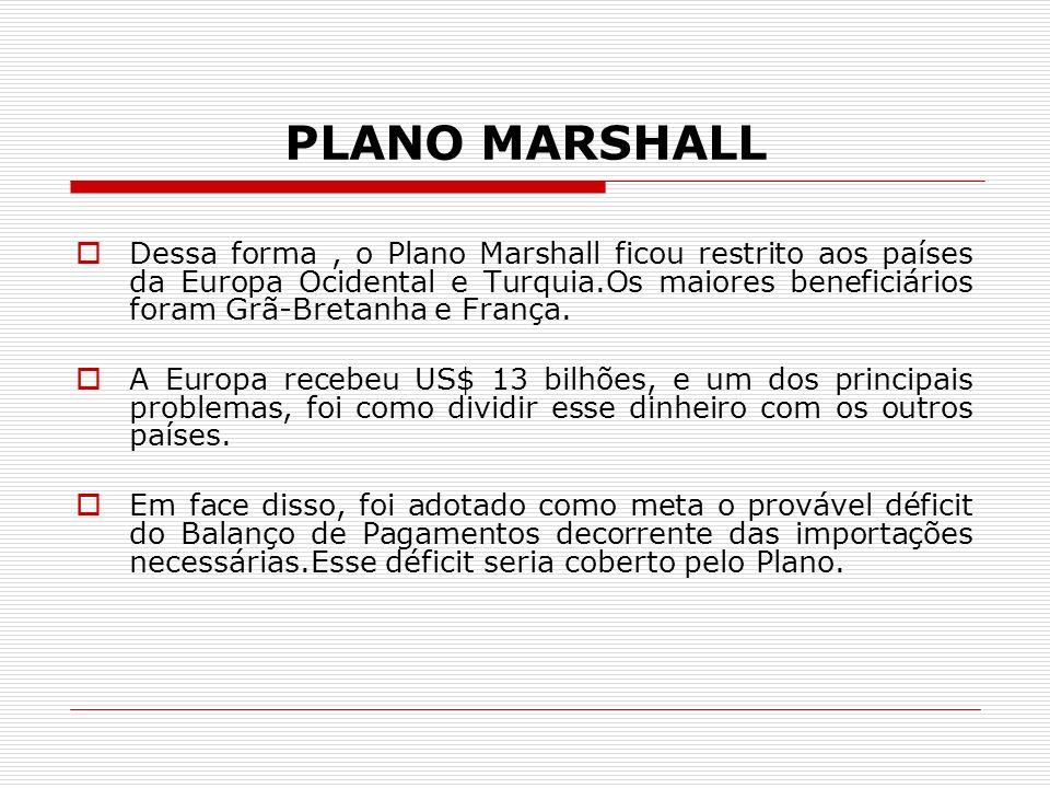 PLANO MARSHALL Dessa forma, o Plano Marshall ficou restrito aos países da Europa Ocidental e Turquia.Os maiores beneficiários foram Grã-Bretanha e Fra