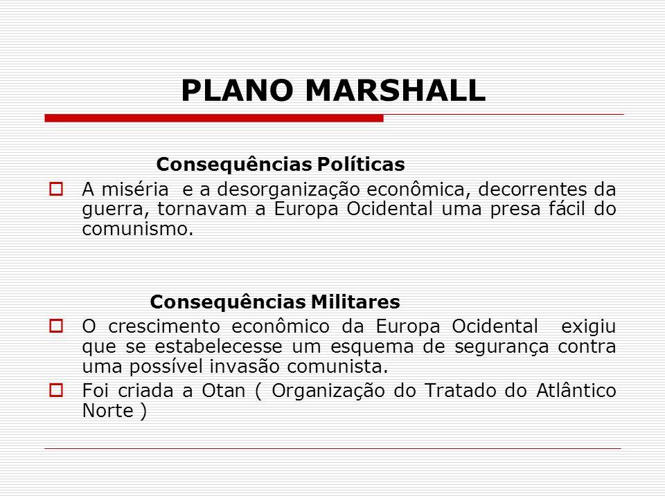 PLANO MARSHALL Consequências Políticas A miséria e a desorganização econômica, decorrentes da guerra, tornavam a Europa Ocidental uma presa fácil do c