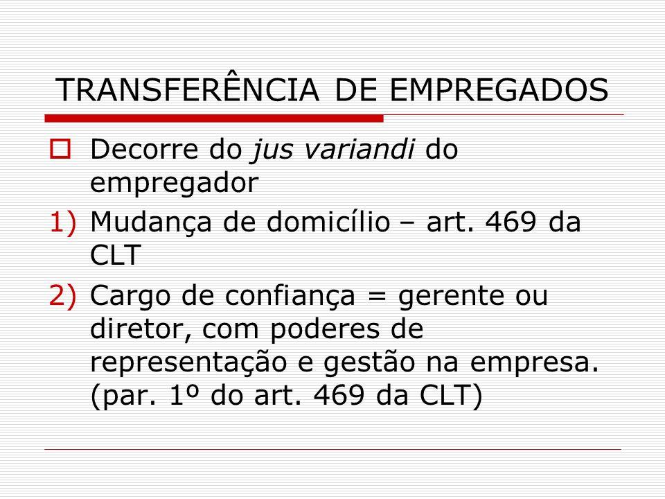 TRANSFERÊNCIA DE EMPREGADOS Decorre do jus variandi do empregador 1)Mudança de domicílio – art. 469 da CLT 2)Cargo de confiança = gerente ou diretor,