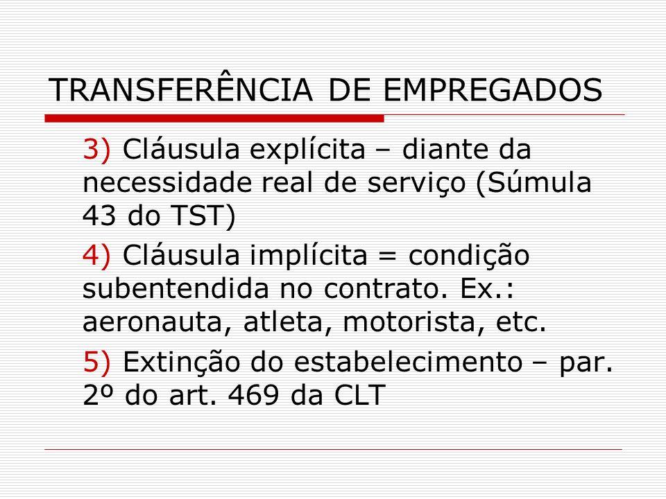 TRANSFERÊNCIA DE EMPREGADOS 3) Cláusula explícita – diante da necessidade real de serviço (Súmula 43 do TST) 4) Cláusula implícita = condição subenten