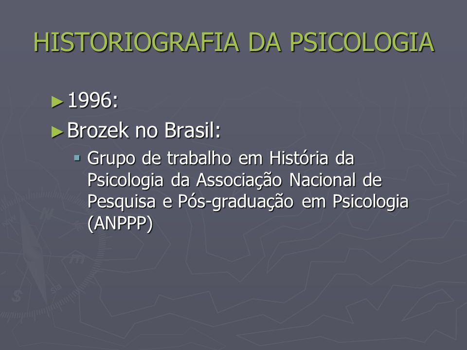 HISTORIOGRAFIA DA PSICOLOGIA 1996: 1996: Brozek no Brasil: Brozek no Brasil: Grupo de trabalho em História da Psicologia da Associação Nacional de Pesquisa e Pós-graduação em Psicologia (ANPPP) Grupo de trabalho em História da Psicologia da Associação Nacional de Pesquisa e Pós-graduação em Psicologia (ANPPP)