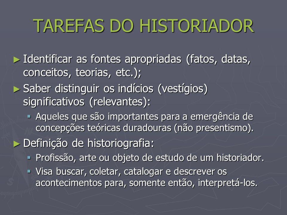 TAREFAS DO HISTORIADOR Identificar as fontes apropriadas (fatos, datas, conceitos, teorias, etc.); Identificar as fontes apropriadas (fatos, datas, conceitos, teorias, etc.); Saber distinguir os indícios (vestígios) significativos (relevantes): Saber distinguir os indícios (vestígios) significativos (relevantes): Aqueles que são importantes para a emergência de concepções teóricas duradouras (não presentismo).
