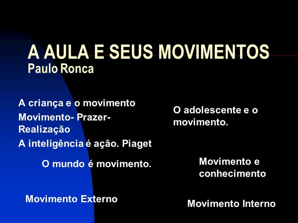 A AULA E SEUS MOVIMENTOS Paulo Ronca A criança e o movimento Movimento- Prazer- Realização A inteligência é ação. Piaget O adolescente e o movimento.