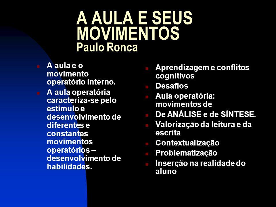 A AULA E SEUS MOVIMENTOS Paulo Ronca A aula e o movimento operatório interno. A aula operatória caracteriza-se pelo estímulo e desenvolvimento de dife