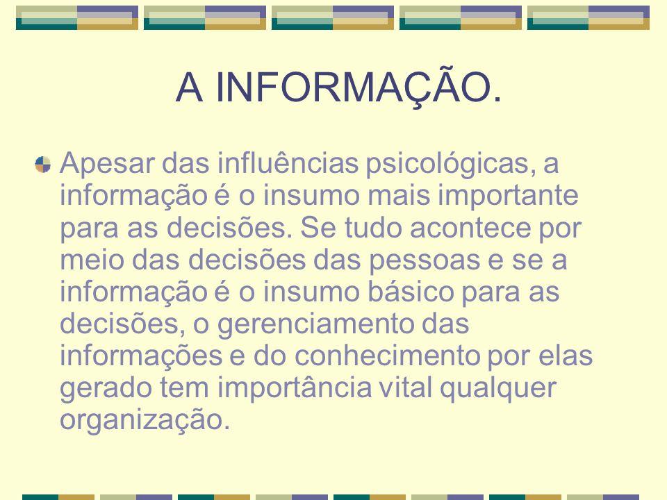 A INFORMAÇÃO. Apesar das influências psicológicas, a informação é o insumo mais importante para as decisões. Se tudo acontece por meio das decisões da