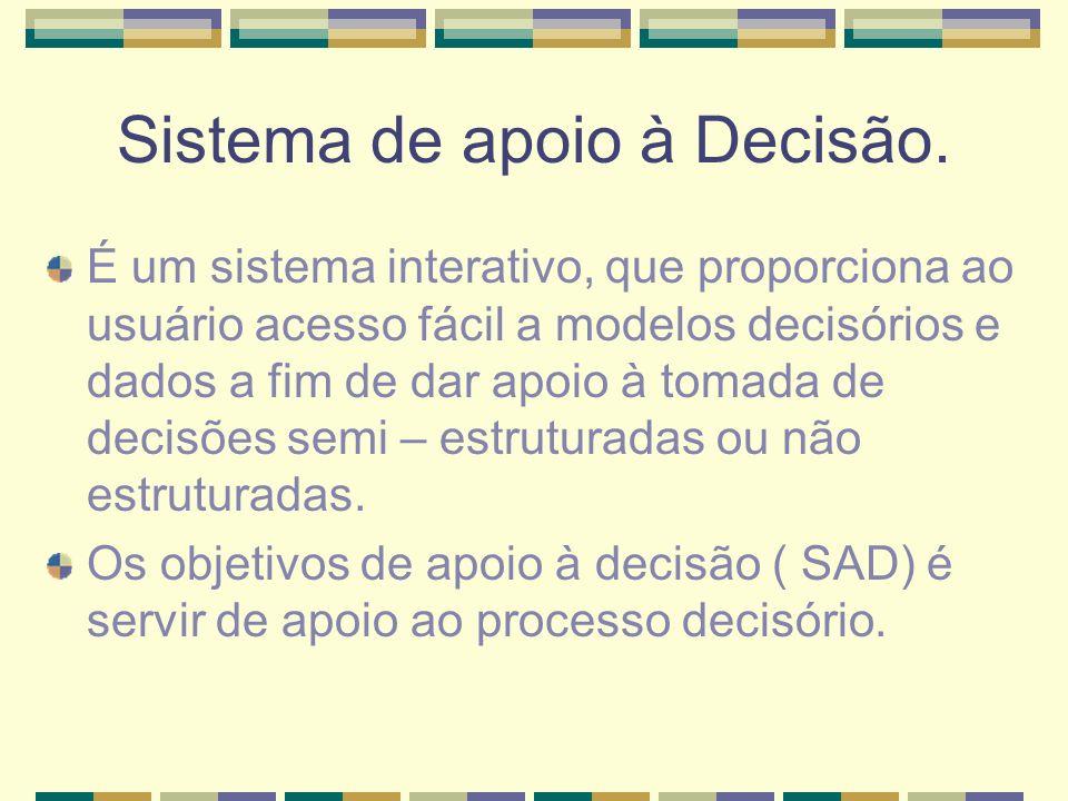 Sistema de apoio à Decisão. É um sistema interativo, que proporciona ao usuário acesso fácil a modelos decisórios e dados a fim de dar apoio à tomada