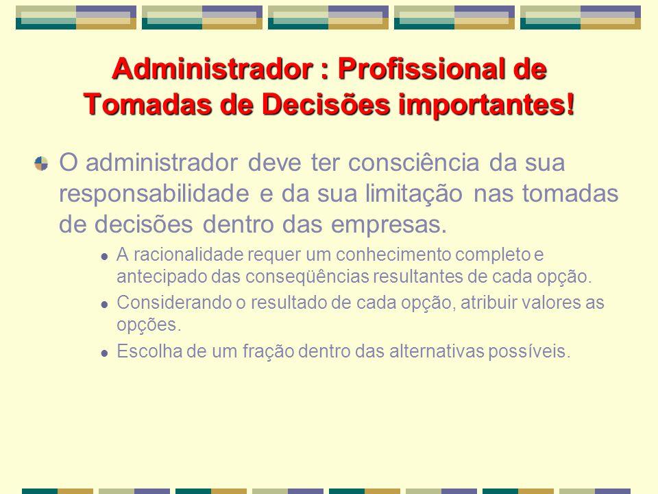 Administrador : Profissional de Tomadas de Decisões importantes! O administrador deve ter consciência da sua responsabilidade e da sua limitação nas t