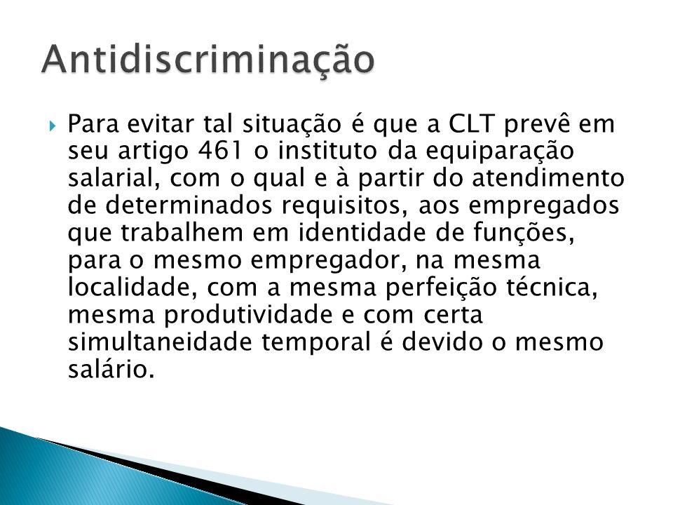 Para evitar tal situação é que a CLT prevê em seu artigo 461 o instituto da equiparação salarial, com o qual e à partir do atendimento de determinados