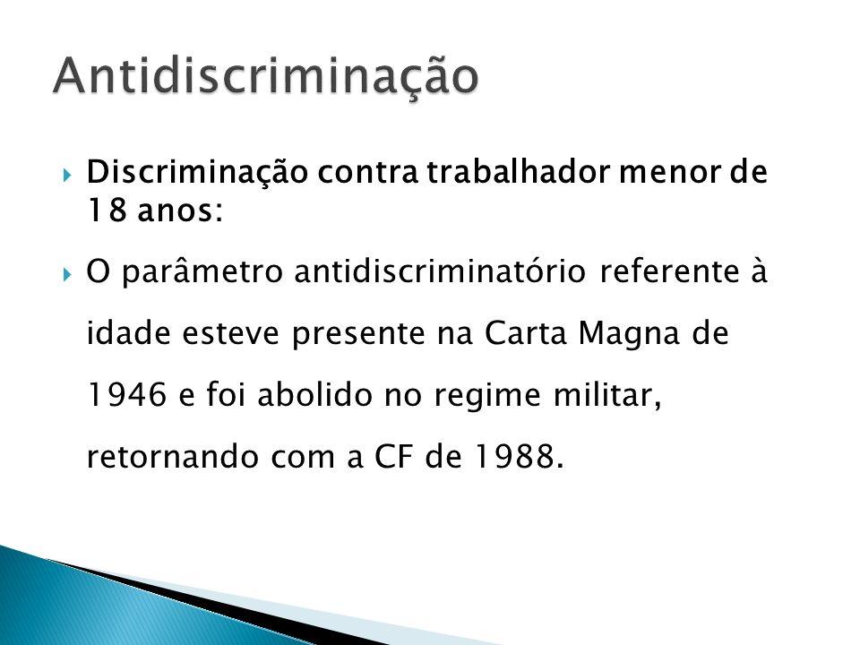 Discriminação contra trabalhador menor de 18 anos: O parâmetro antidiscriminatório referente à idade esteve presente na Carta Magna de 1946 e foi abol