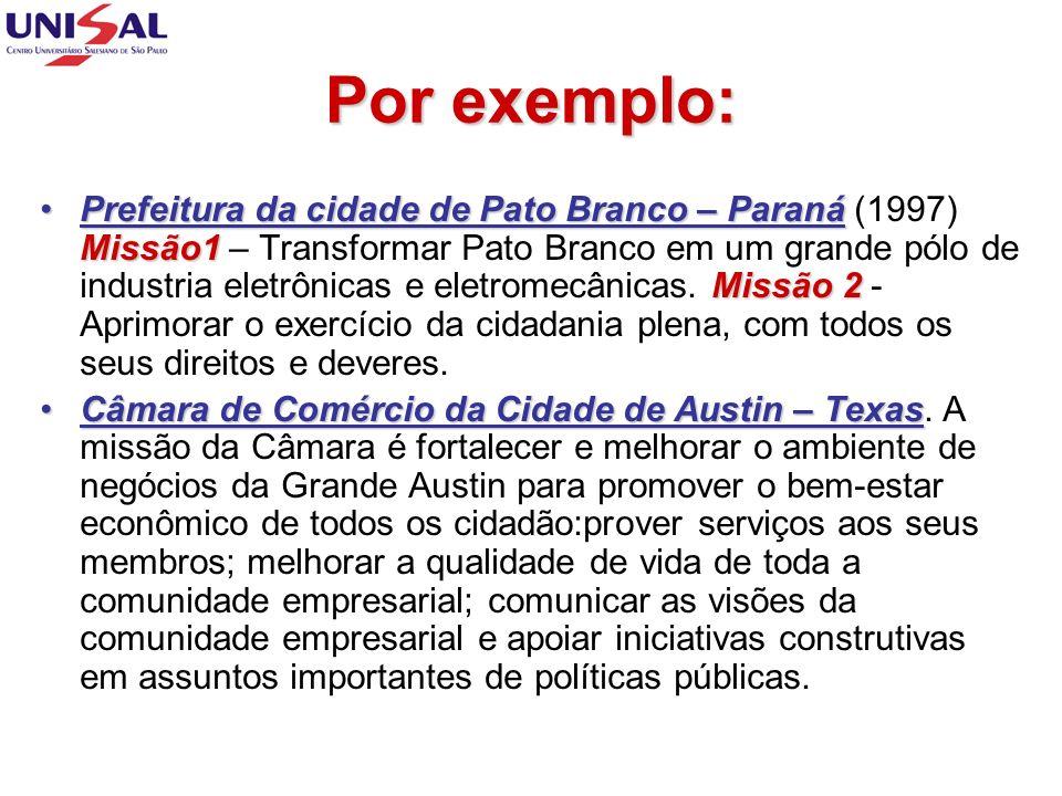 Por exemplo: Prefeitura da cidade de Pato Branco – Paraná Missão1 Missão 2Prefeitura da cidade de Pato Branco – Paraná (1997) Missão1 – Transformar Pa